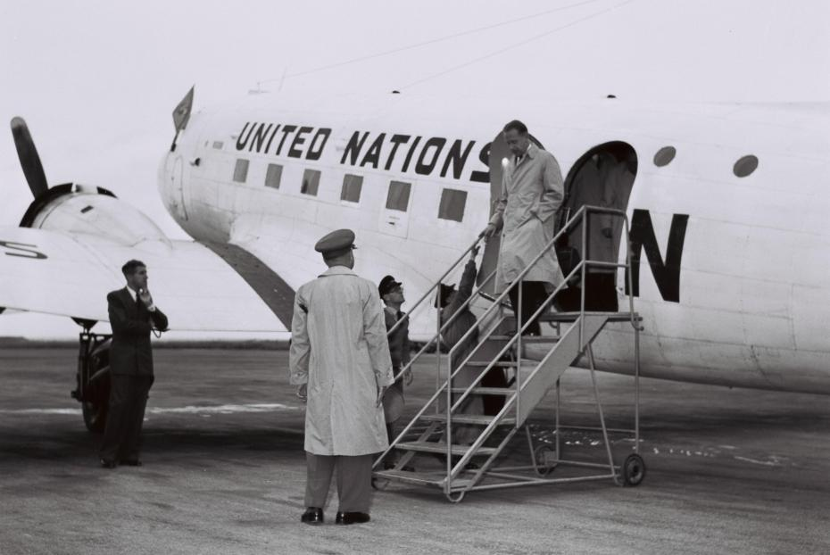U.N. SECY.-GEN. DAG HAMMARSKJOLD ARRIVES AT LYDDA AIRPORT, ON HIS WAY FROM BEIRUT TO CAIRO.